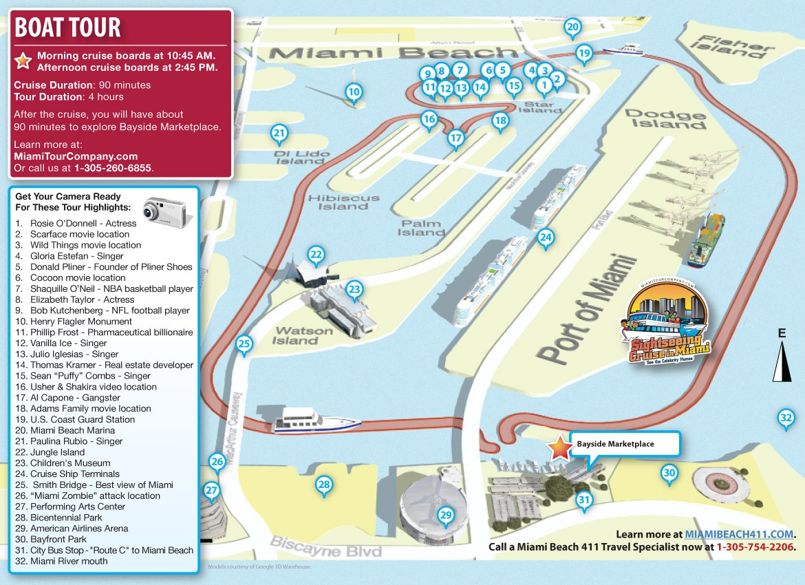 Miami Boat Tour Map