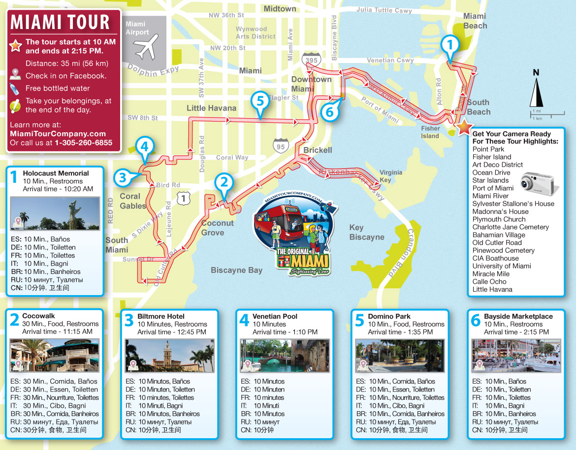 miami bus tour map - miami beach 411 travel store