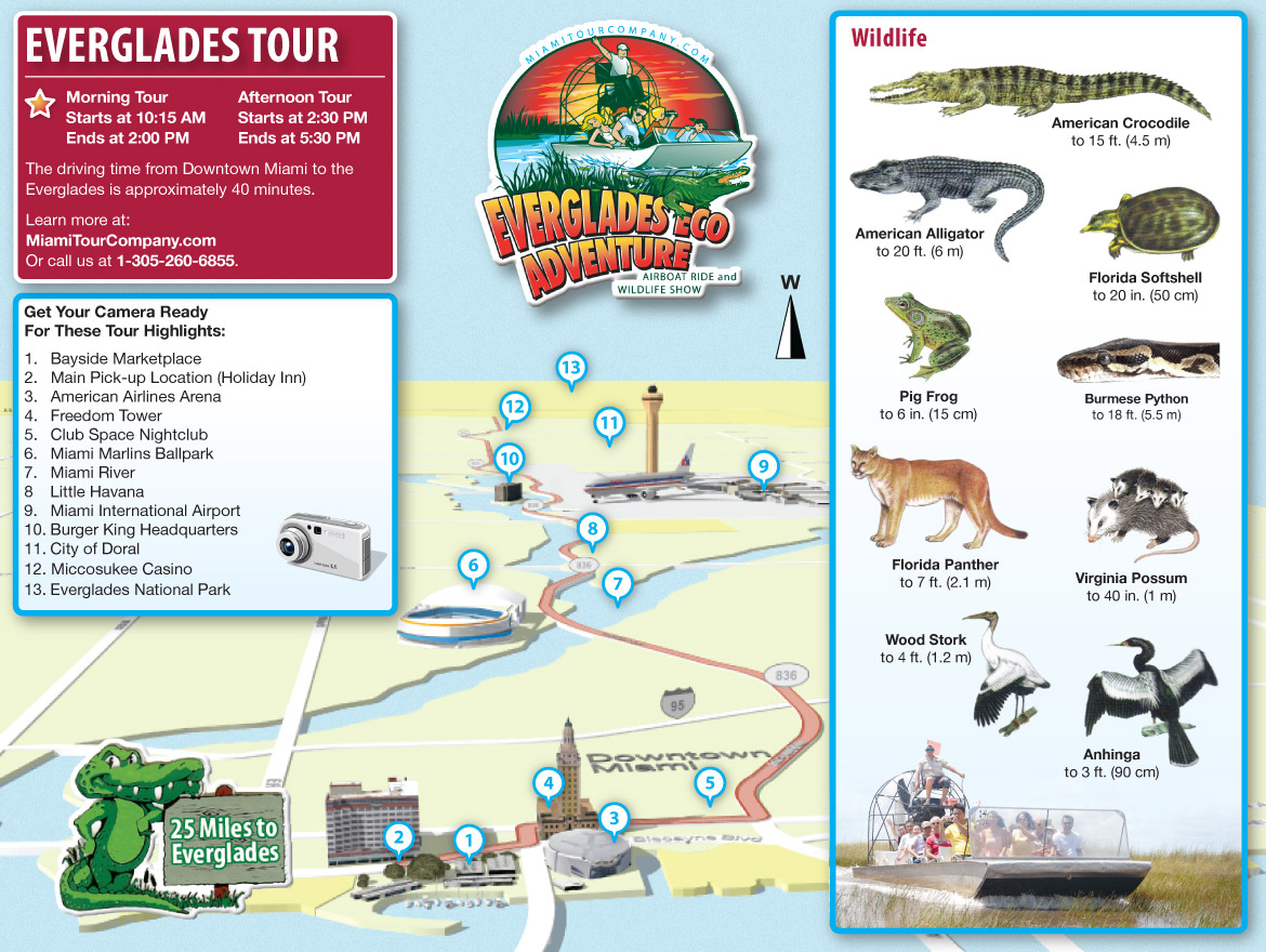 Miami Everglades Tour Map
